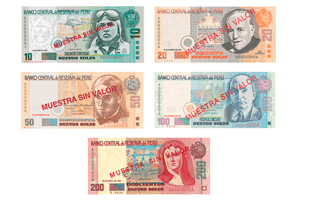 A Continuación Los Billetes De Nuevo Sol Peruano En Uso Actual 10 20 50 100 Y 200 Nuevos Soles Precio Dólar Perú