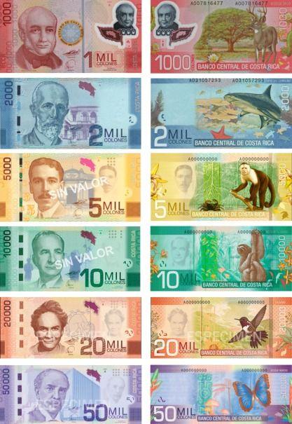 A Continuación Los Billetes De Colón Costarricense En Uso Actual 1 000 2 5 10 20 Y 50 Colones Precio Dólar Costa Rica