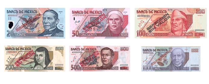 Billetes De Peso Mexicano Actuales En Uso 20 50 100 200 500 Y 1 000 Pesos Mexicanos