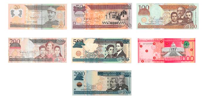 Billetes De Peso Dominicano Actuales En Uso 20 50 100 200 500 1 000 Y 2 Pesos Dominicanos